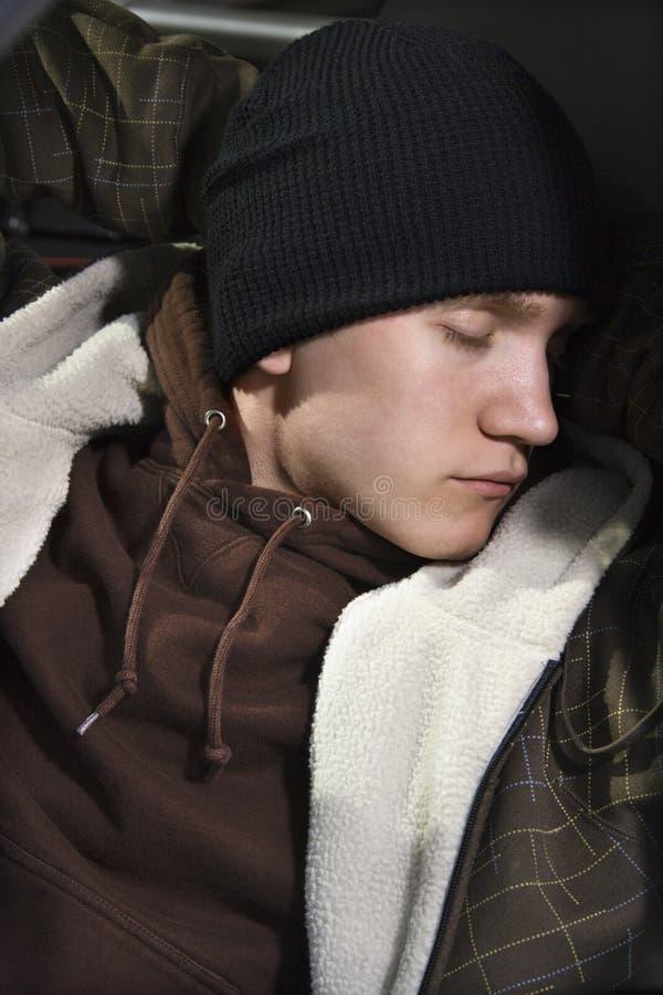 Sleeping teen. stock photos