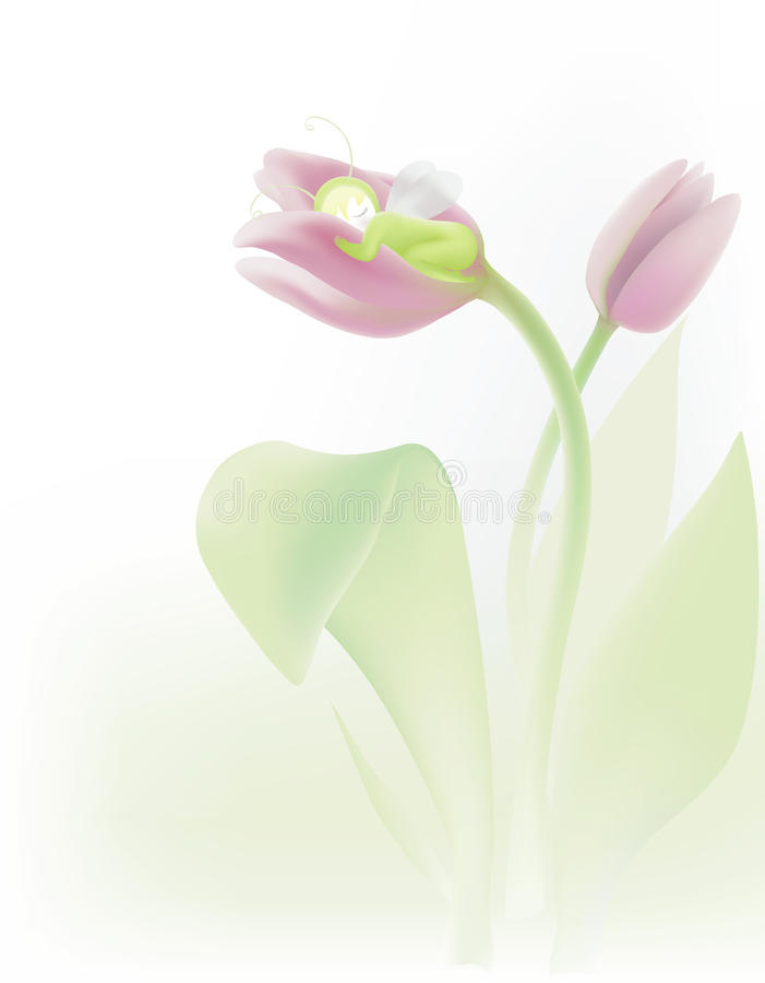 Sleeping in tulip royalty free illustration