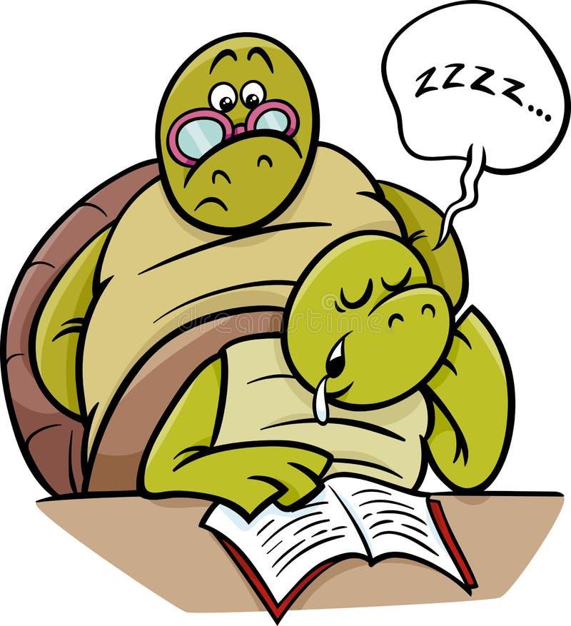 Sleeping turtle on lesson cartoon royalty free illustration