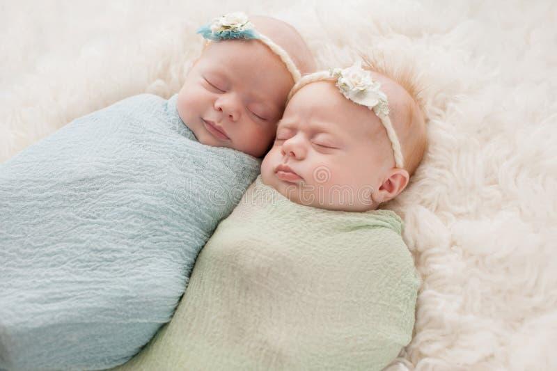 Sleeping Twin Baby Girls royalty free stock photography