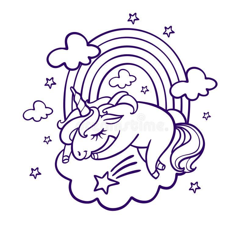 Unicorn sleeping royalty free illustration