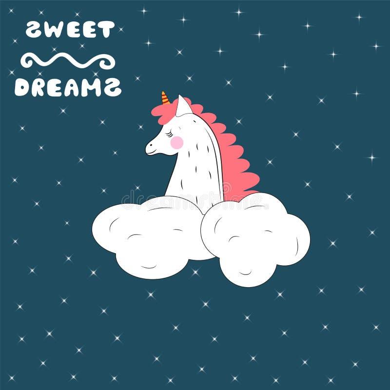 A sleeping unicorn in the starry sky. Vector illustration. stock illustration