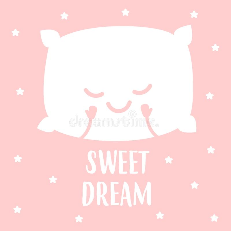 Sleeping white pillow. Isolated on pink background. vector illustration stock illustration
