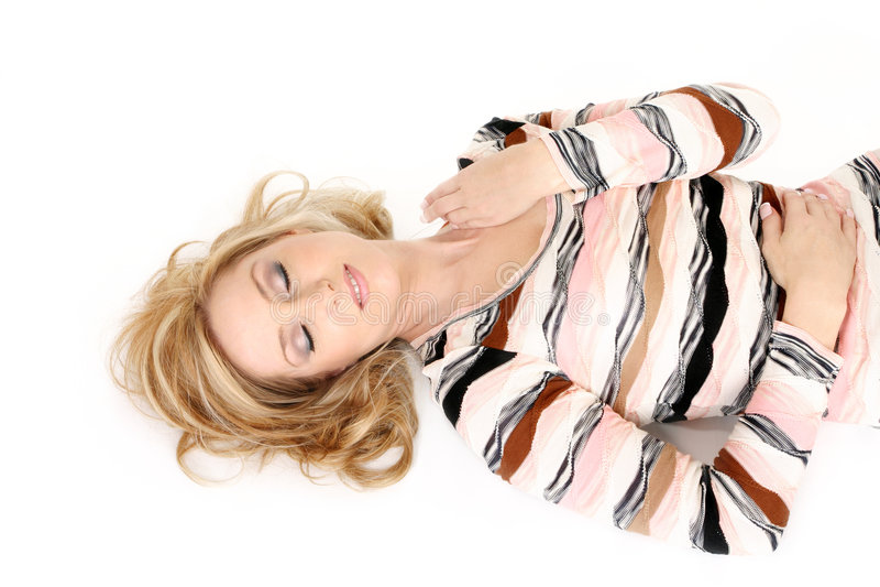 Sleeping woman eyes closed royalty free stock image