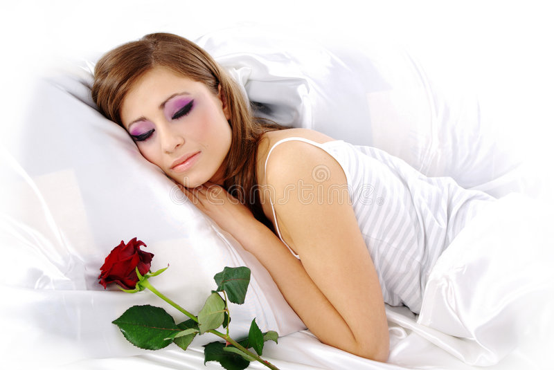 Download Sleeping woman with rose stock image. Image of light, girl - 7615351