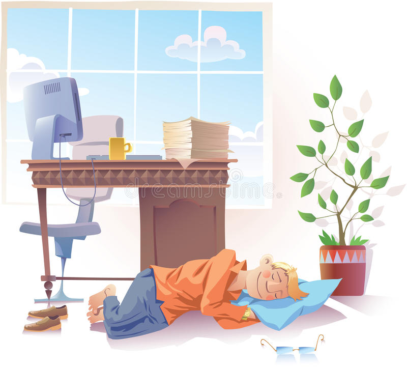 Download Sleeping at work stock vector. Image of cutout, pillow - 24171563