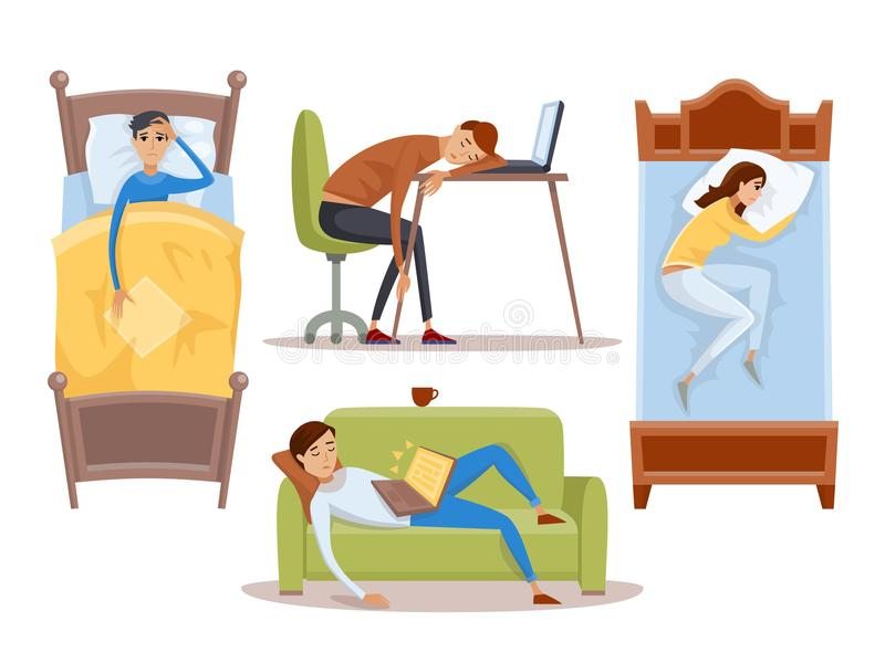 Sleeping young woman at home vector illustration stock illustration