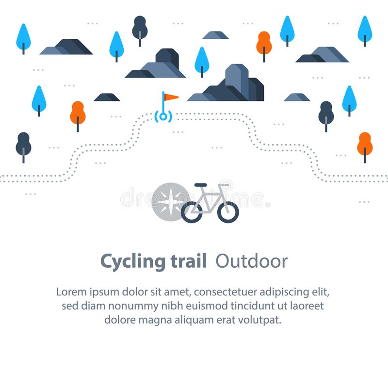 Sleepkaart met vlag, het openlucht biking, het cirkelen route, plattelandslandschap, sportactiviteit, vectorfietspictogram stock illustratie