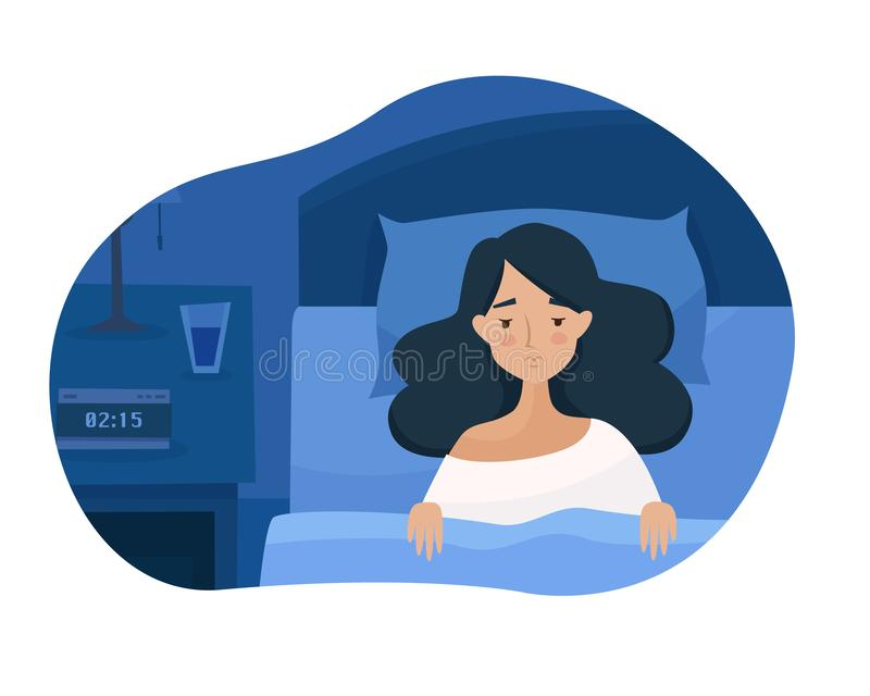 Sleepless girl suffers from insomnia. Woman in bed with open eyes in darkness night room. Flat cartoon style vector illustration vector illustration