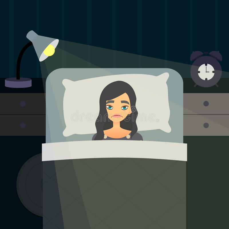 Sleepless Insomnia concept art. Tired woman on the bed can not sleep. Stress female character. Insomnious cartoon girl. Dark bedroom with night light royalty free illustration