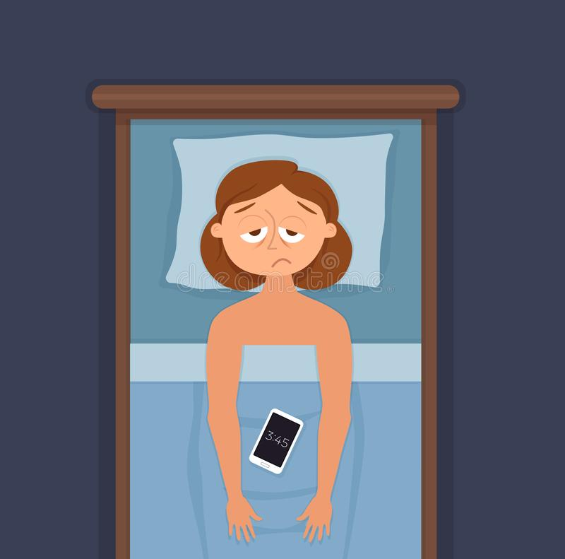 Sleepless woman face cartoon character suffers from insomnia. Girl with open eyes in darkness night lying on bed concept. Sad female awake, tired with can t stock illustration