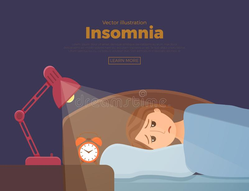 Sleepless woman face cartoon character suffers from insomnia. Girl with open eyes. In darkness night lying on bed concept. Sad female awake, tired with can t stock illustration
