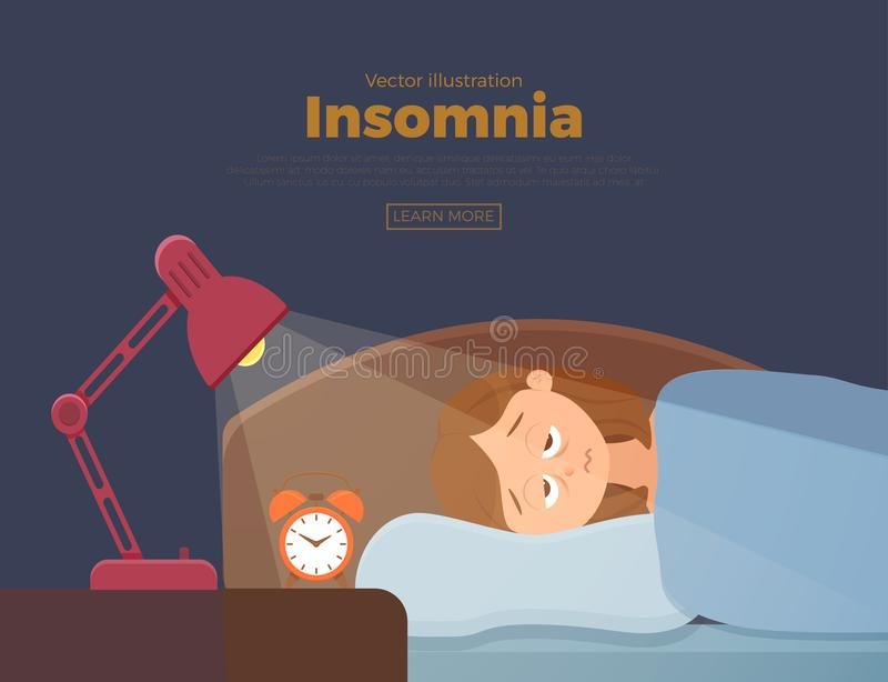 Sleepless woman face cartoon character suffers from insomnia problem. Sleepless woman face cartoon character suffers from insomnia. Girl with open eyes in vector illustration