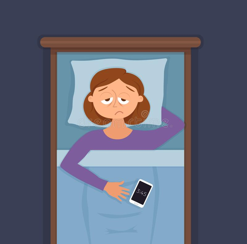 Sleepless woman face cartoon character suffers from insomnia. Girl with open eyes in darkness night lying on bed concept. Sad female awake, tired with can t vector illustration
