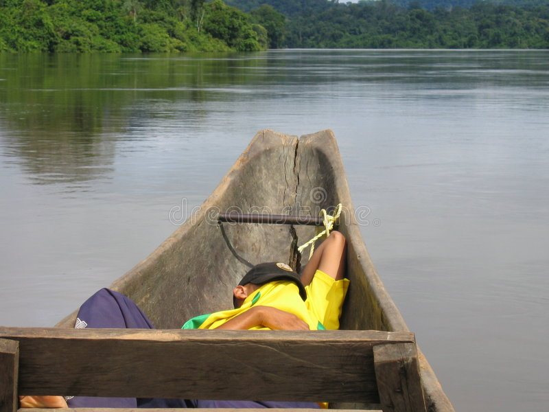 Sleepping en un barco fotografía de archivo