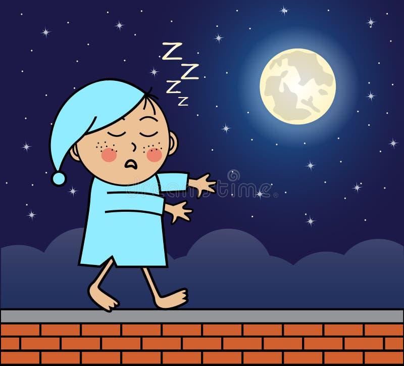 Sleepwalker odprowadzenie na dachu ilustracja wektor