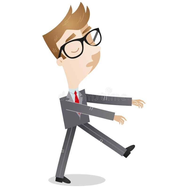 Sleepwalking businessman. Vector illustration of a cartoon businessman sleepwalking stock illustration