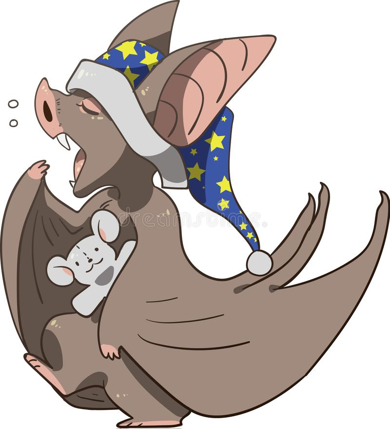 Sleepy bat with teddy bear preparing for bed stock image
