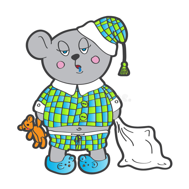 Soft Toys Clip Art : Sleepy bear in pajamas with a pillow and soft toy stock