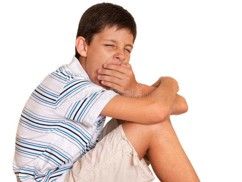 Download Sleepy boy stock photo. Image of striped, late, unhealthy - 15265312