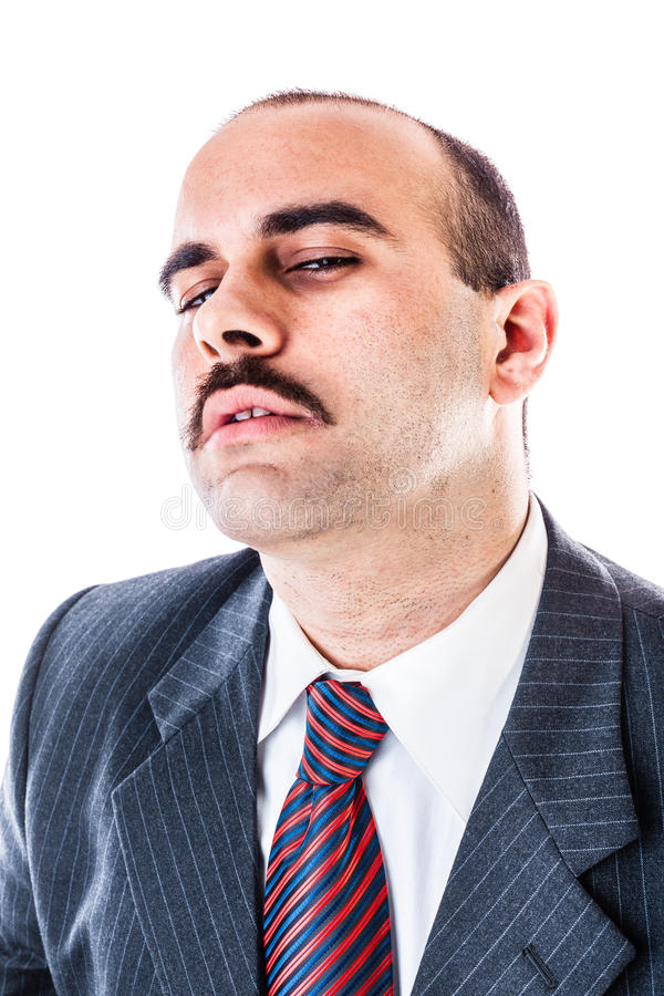 Sleepy businessman stock image