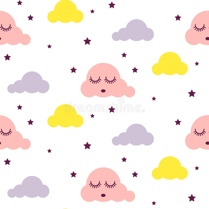 Sleepy clouds girlish seamless vector pattern. stock illustration