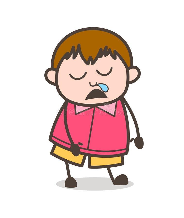 Sleepy Funny Face - Cute Cartoon Fat Kid Illustration royalty free illustration