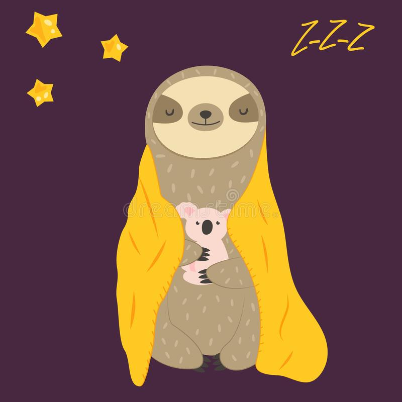 Sleepy funny sloth turning in blanket and toy. Sleepy funny sloth turning in blanket in paws. Cute animal stock illustration