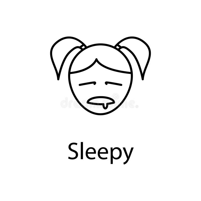 sleepy girl face icon. Element of emotions for mobile concept and web apps illustration. Thin line icon for website design and dev stock illustration