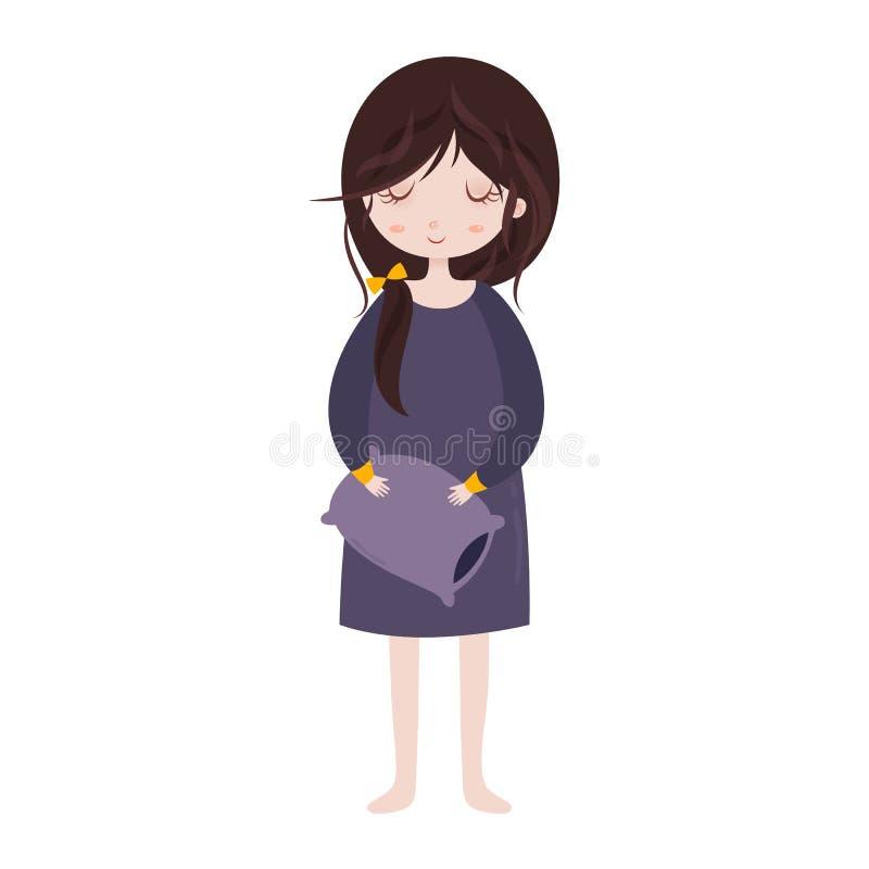 Sleepy girl in pajamas. Cute cartoon character with pillow. vector illustration