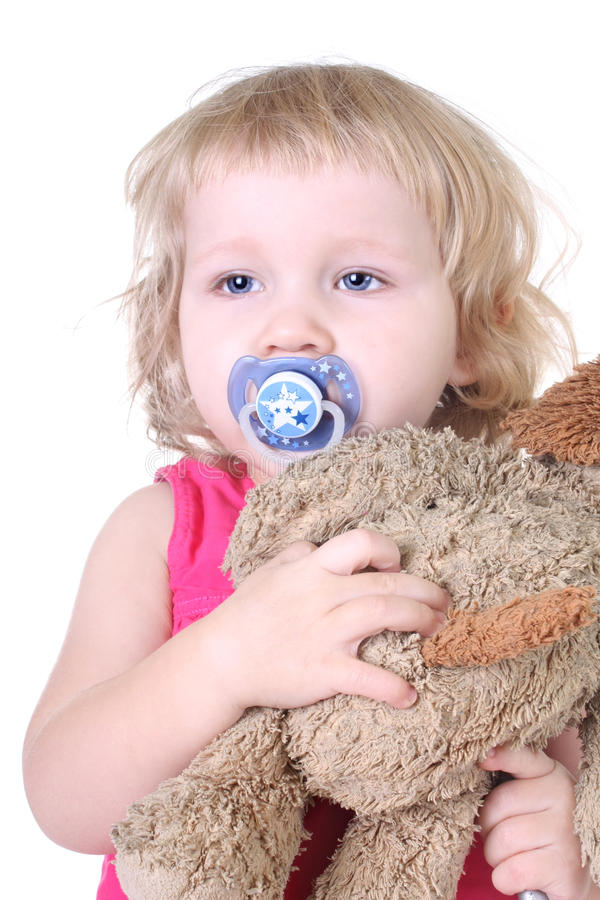 Download Sleepy girl with toy stock photo. Image of blond, attractive - 17437426