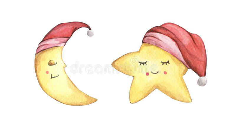 Sleepy half moon and little star in red nightcap. Watercolor illustration. Christmas card. stock photography