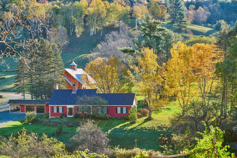Sleepy Hollow Farm at sunny autumn day in Woodstock, Vermont,. USA stock photography