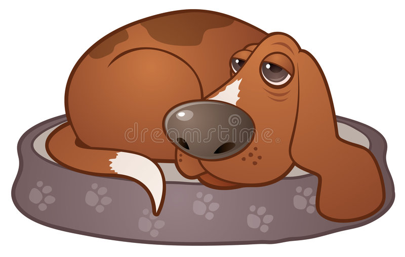 Sleepy Hound Dog stock illustration