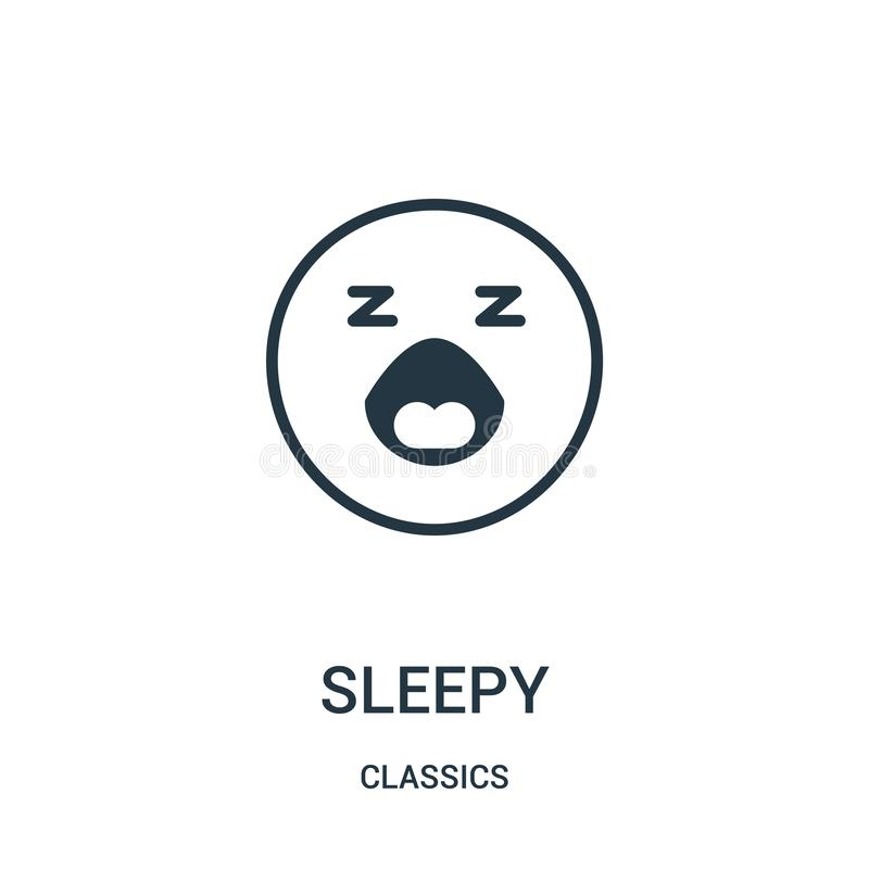sleepy icon vector from classics collection. Thin line sleepy outline icon vector illustration. Linear symbol stock illustration