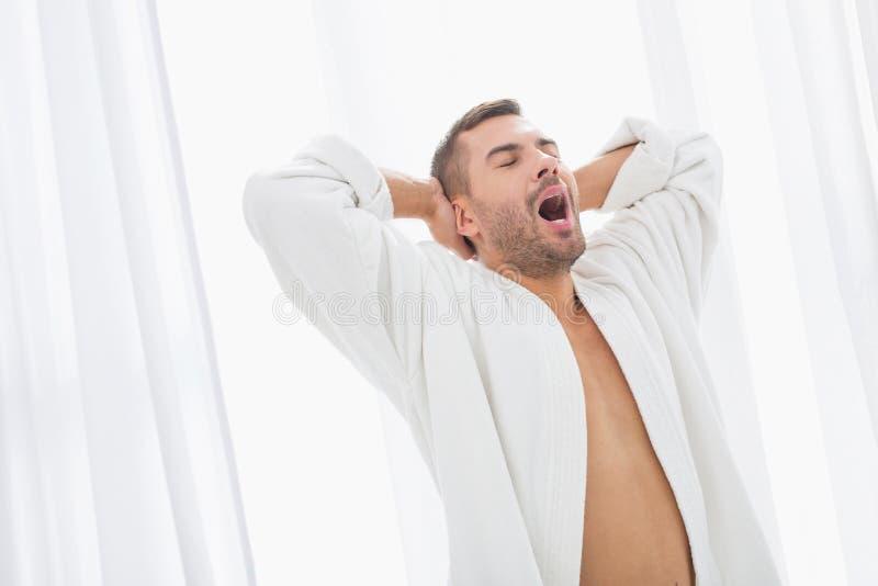Nice handsome man yawning royalty free stock image