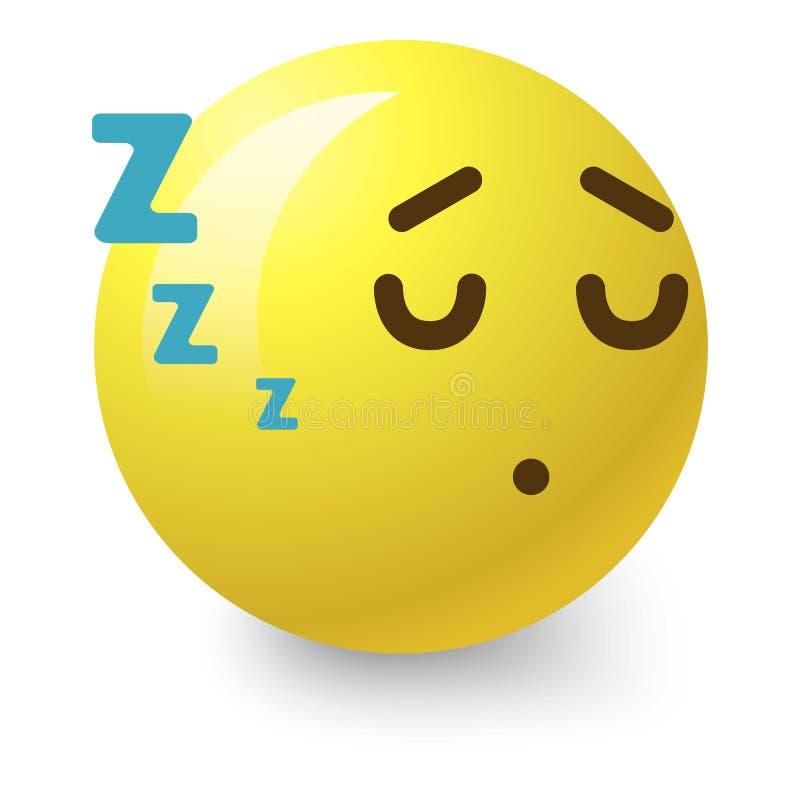 Sleepy smiley icon, cartoon style stock illustration