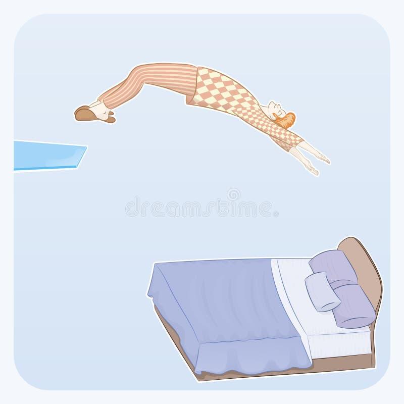 Sleepyhead skacze w łóżko zdjęcia royalty free