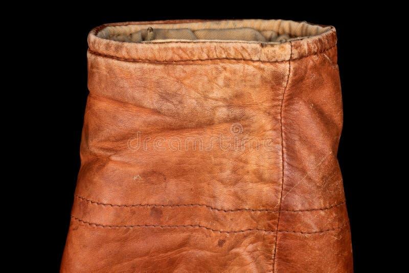 Sleeve of brown worn aviator leather jacket stock photo