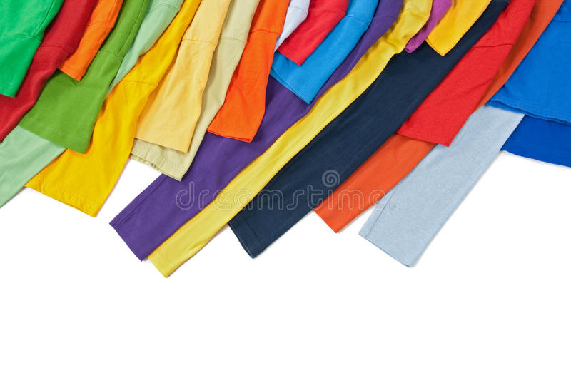 Sleeves of colorful clothing on white background royalty free stock images