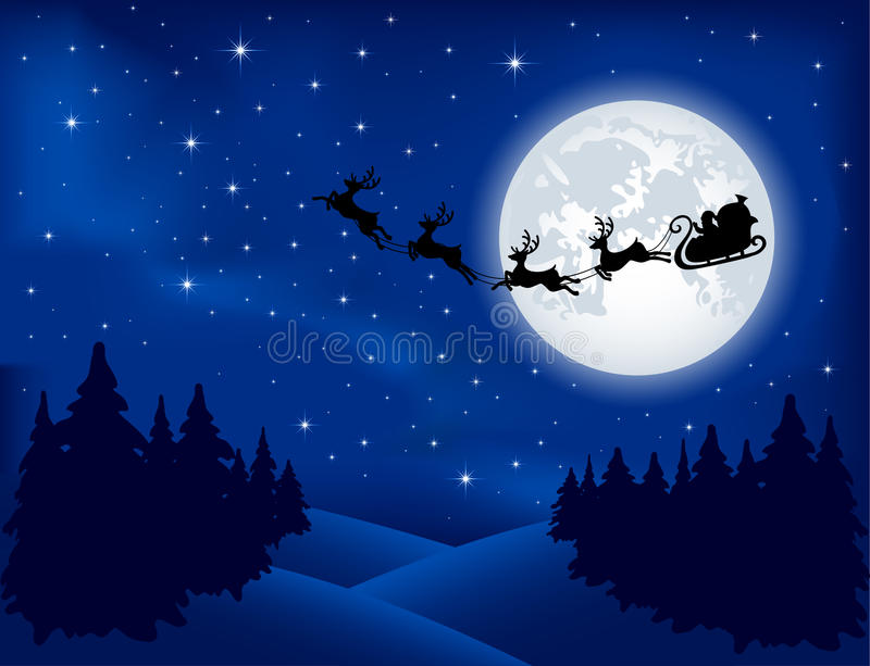 sleigh för bakgrundsmoon s santa vektor illustrationer