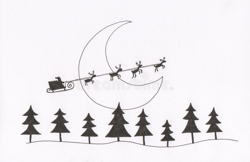 sleigh för s santa stock illustrationer