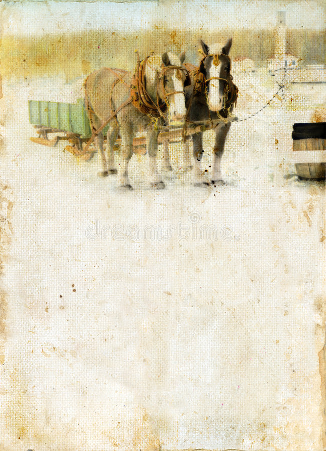 Sleigh Horses on a grunge background royalty free stock images