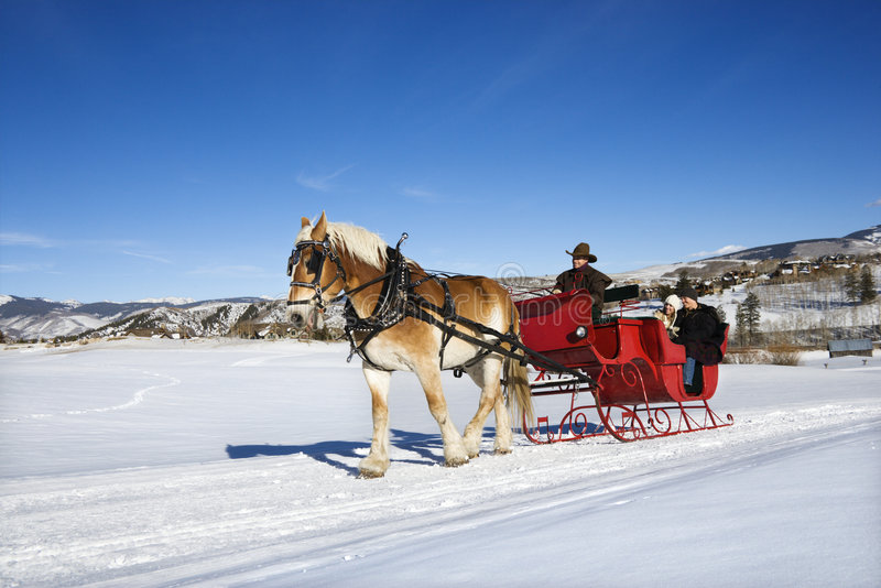 Sleigh ride. Sleigh ride through winter landscape stock images