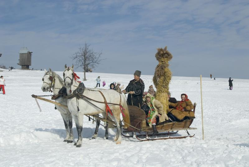 Sleighing in Pyrohiv during winter holiday stock image