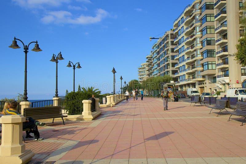 Slema-Promenade in Malta stockbild