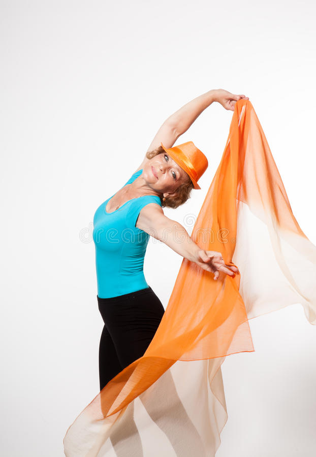 Slender and athletic grandmother stock photography