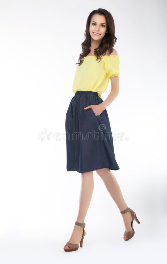 Slender cute girl fashion model - series of photos royalty free stock images