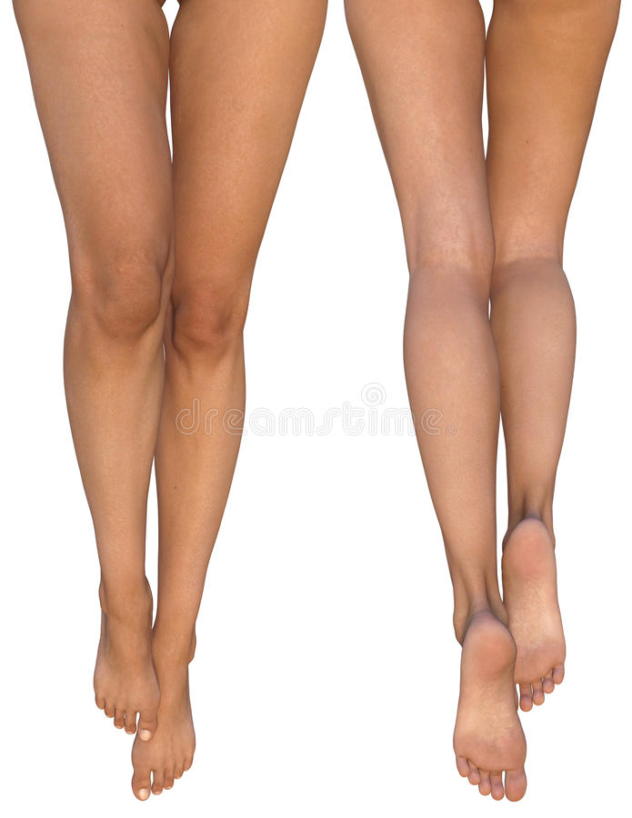 Slender female legs with stretched out feet - front and rear views royalty free illustration