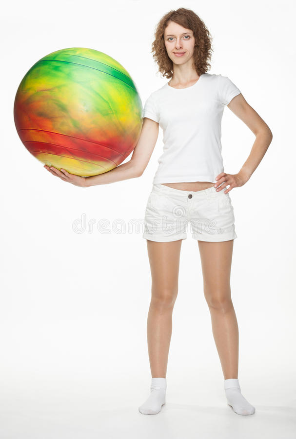Download Slender Girl With A Fitball Stock Photo - Image of gymnastic, exercise: 27762316